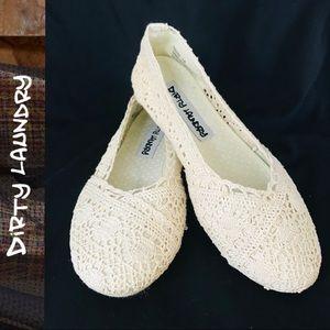 Dirty Laundry Ivory Crochet Flats